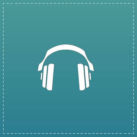 aria: Retro headphone. White flat icon with black stroke on blue background Illustration