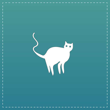 Evil Cat silhouette. White flat icon with black stroke on blue background Illustration