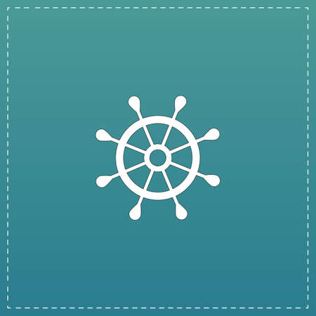 piloting: Simple rudder. White flat icon with black stroke on blue background