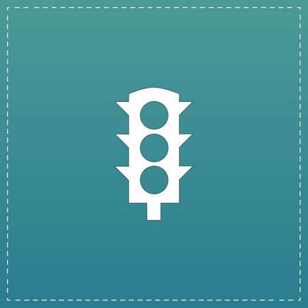semaforo peatonal: Semáforo simple. Blanco icono plana con trazo negro sobre fondo azul