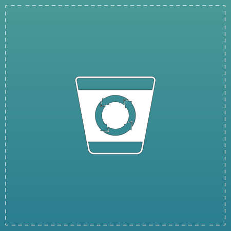 segregate: Recycle bin. White flat icon with black stroke on blue background