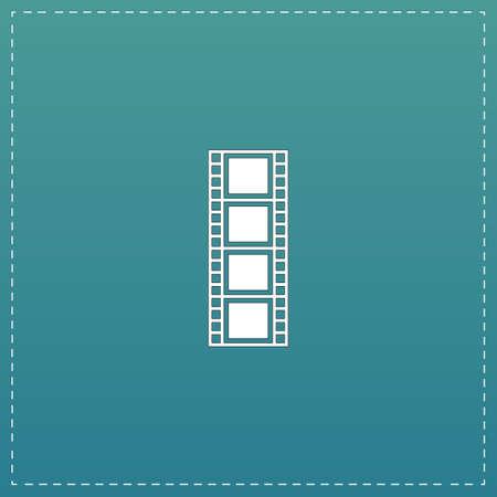 cinematographic: Cinematographic film. White flat icon with black stroke on blue background Illustration