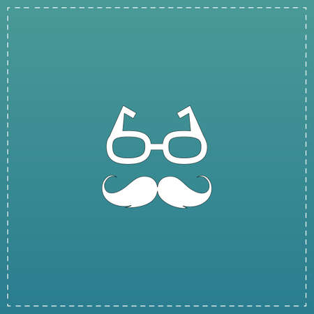 style goatee: Nerd glasses and mustaches. White flat icon with black stroke on blue background Illustration