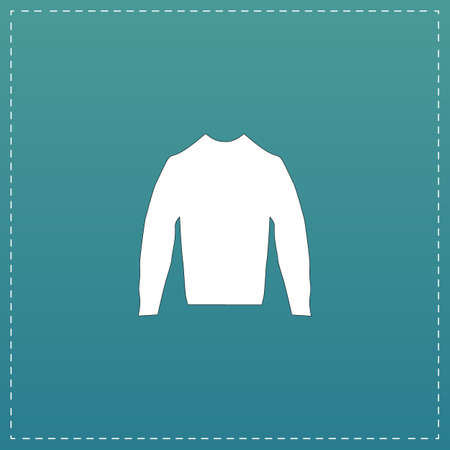 buttoned: Clothing sweater Pictogram. White flat icon with black stroke on blue background