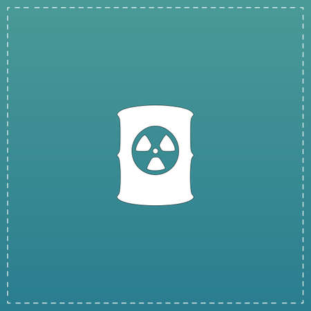 radioactive waste: Container with radioactive waste. White flat icon with black stroke on blue background