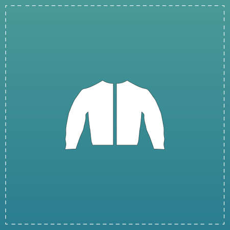 fur hood: Sports jacket. White flat icon with black stroke on blue background