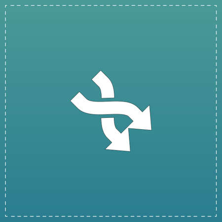 diverge: Arrow in Arrow. White flat icon with black stroke on blue background Illustration