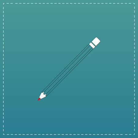 Simple Pencil. White flat icon with black stroke on blue background