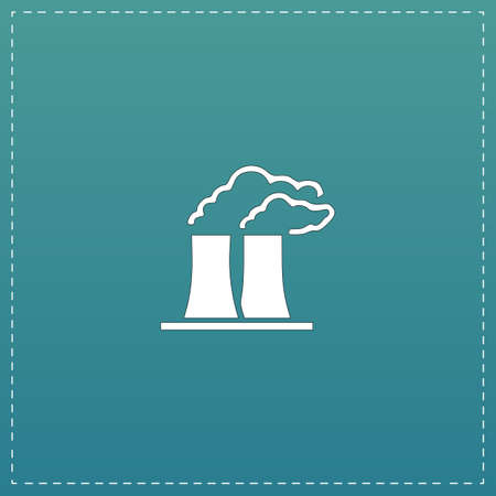 distillery: Factory or plant. White flat icon with black stroke on blue background
