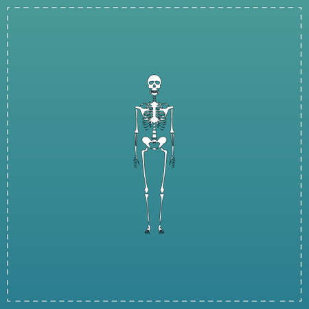 Skeletons - human bones. White flat icon with black stroke on blue background