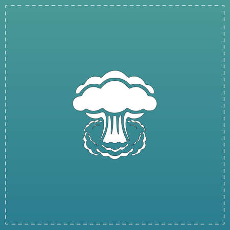catastrophe: Mushroom cloud, nuclear explosion, silhouette. White flat icon with black stroke on blue background