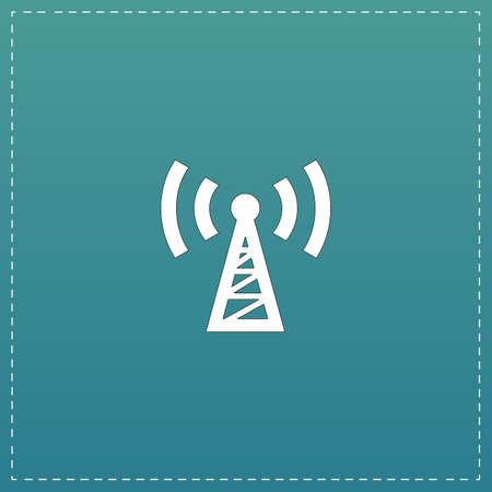 tv tower: Transmitter. White flat icon with black stroke on blue background