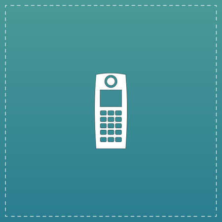 speakerphone: Retro mobile phone. White flat icon with black stroke on blue background
