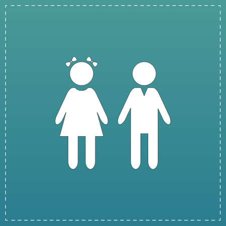 Girl and boy. White flat icon with black stroke on blue background