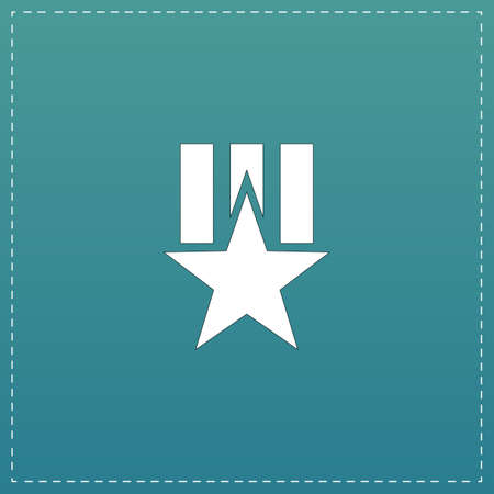 Order with star. White flat icon with black stroke on blue background
