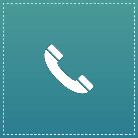 earpiece: Telephone handset. White flat icon with black stroke on blue background