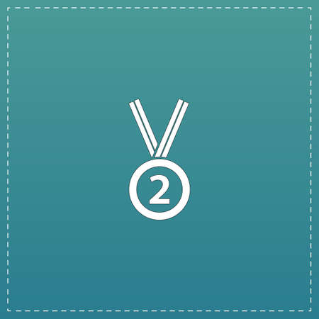 second place: Second place award silver medal with ribbon. White flat icon with black stroke on blue background