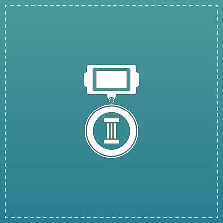 orden: Medals 3 places. White flat icon with black stroke on blue background Illustration