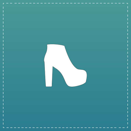 women's shoes: Womens shoes. White flat icon with black stroke on blue background