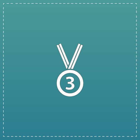 accomplishment: Bronze medal with ribbon. third prize, award accomplishment. 3nd place. White flat icon with black stroke on blue background