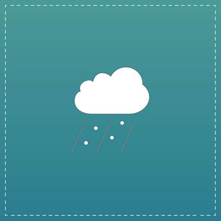 Cloud it is raining and hail. White flat icon with black stroke on blue background