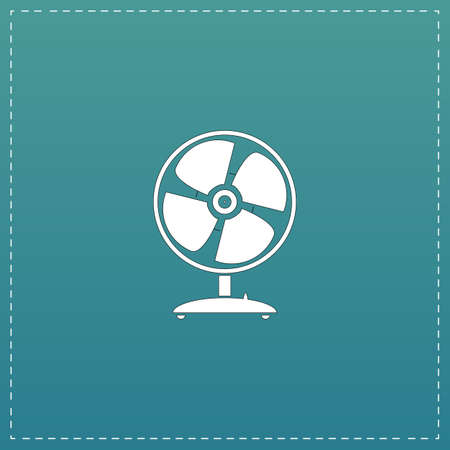 heatwave: Table fan. White flat icon with black stroke on blue background Illustration