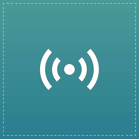 wimax: Flat Wi-Fi. White flat icon with black stroke on blue background