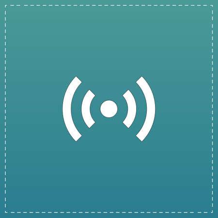Flat Wi-Fi. White flat icon with black stroke on blue background