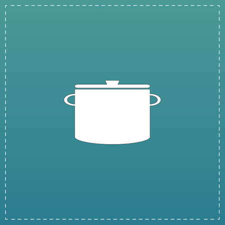 borscht: Kitchen pan. White flat icon with black stroke on blue background