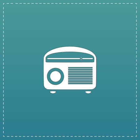 admiral: Retro revival radios tuner. White flat icon with black stroke on blue background Illustration
