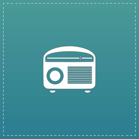 Retro revival radios tuner. White flat icon with black stroke on blue background Illustration