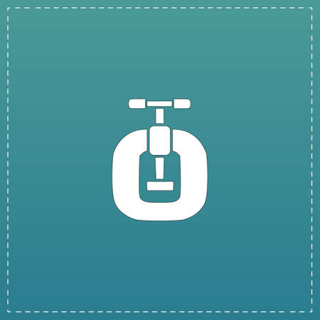 vices: Bench vices. White flat icon with black stroke on blue background Illustration