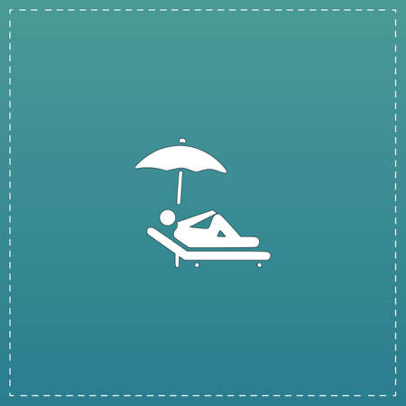 woman laying down: Simple Relax under an umbrella on a lounger. White flat icon with black stroke on blue background Illustration