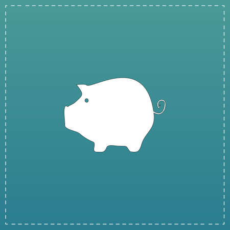 time account: Piggy bank. White flat icon with black stroke on blue background Illustration