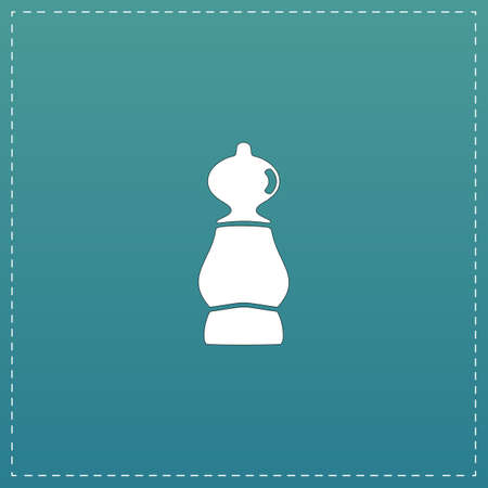 cross match: Chess pawn. White flat icon with black stroke on blue background
