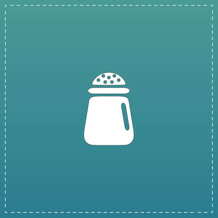 pepper grinder: Salt or pepper - Vector icon isolated. White flat icon with black stroke on blue background