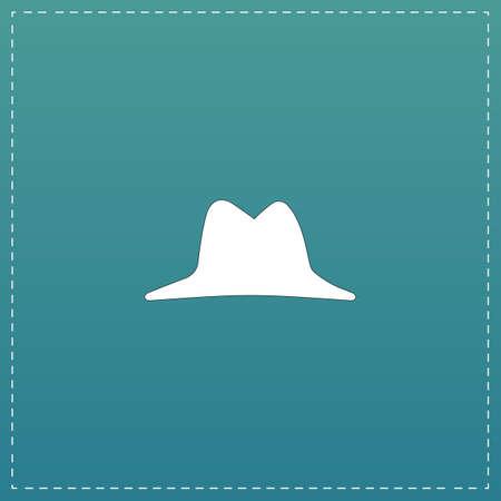 pent: Men hat. White flat icon with black stroke on blue background Illustration