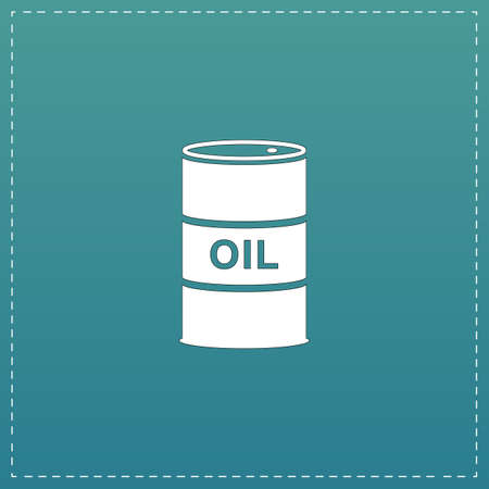 steel drum: Barrels of oil. White flat icon with black stroke on blue background Illustration