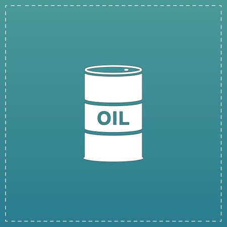 barel: Barrels of oil. White flat icon with black stroke on blue background Illustration