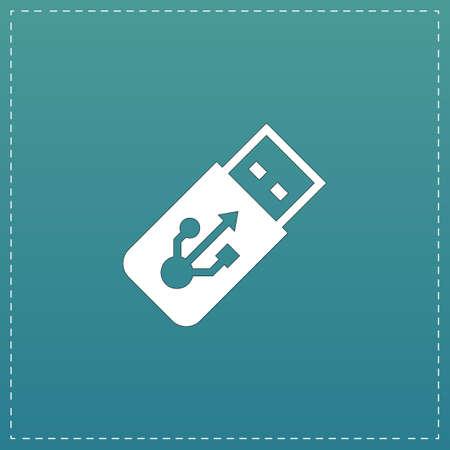 gigabytes: Usb flash drive. White flat icon with black stroke on blue background