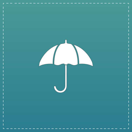 resistant: Umbrella. White flat icon with black stroke on blue background