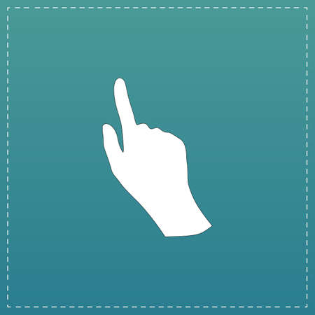 ideograph: Cursor hand. White flat icon with black stroke on blue background