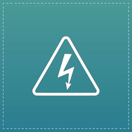 High voltage White flat icon with black stroke on blue background Illustration