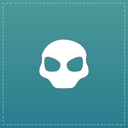 Alien Head. White flat icon with black stroke on blue background Ilustrace