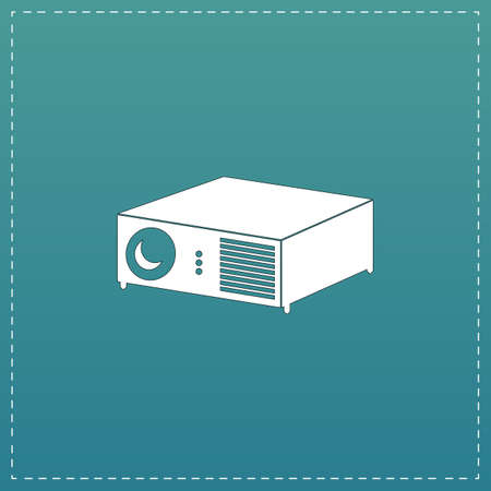 Projector. White flat icon with black stroke on blue background Illustration