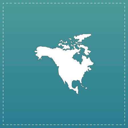 bandera de panama: Mapa Norte América. Blanco icono plana con trazo negro sobre fondo azul