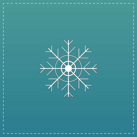 lightweight ornaments: Snowflake. White flat icon with black stroke on blue background