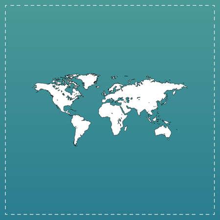 Wereldkaart. Witte platte pictogram met zwarte streep op blauwe achtergrond Vector Illustratie
