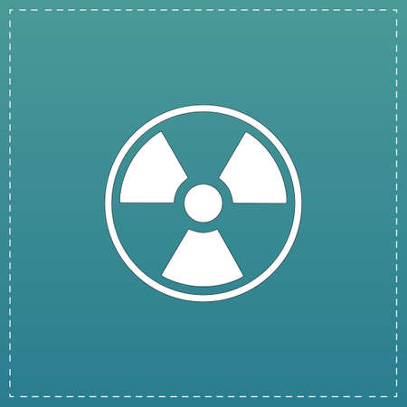 caution chemistry: Radiation White flat icon with black stroke on blue background