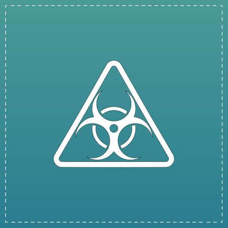 Biohazard. White flat icon with black stroke on blue background